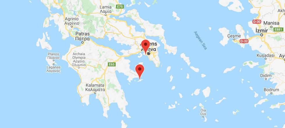 Trajets des Ferry d'Athènes à Hydra (depuis le Pirée ...