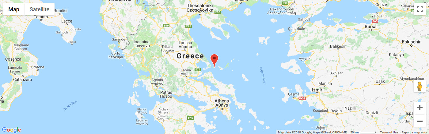 Ferry to Skiathos map