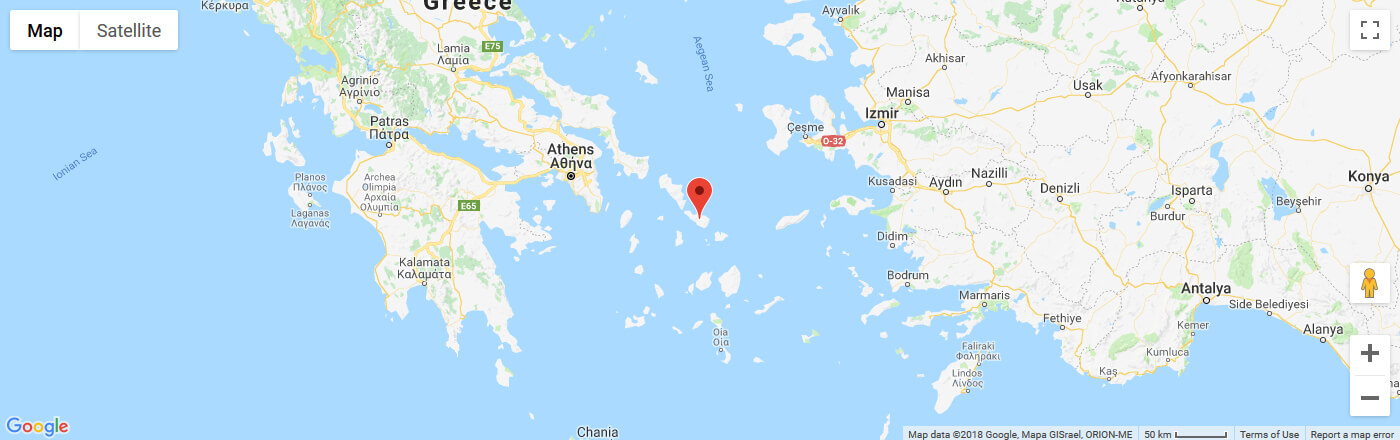 Ferry to Tinos map
